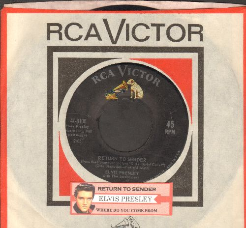 Presley, Elvis - Return To Sender/Where Do You Come From (with juke box label and RCA company sleeve) - VG7/ - 45 rpm Records