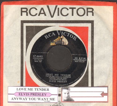 Presley, Elvis - Love Me Tender/Anyway You Want Me (with juke box label and RCA company sleeve) - VG7/ - 45 rpm Records