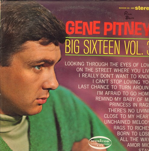 Pitney, Gene - Big 16 Vol. 3: Unchained Melody, On The Street Where You Live, Born To Lose (vinyl STEREO LP record) - VG7/VG7 - LP Records