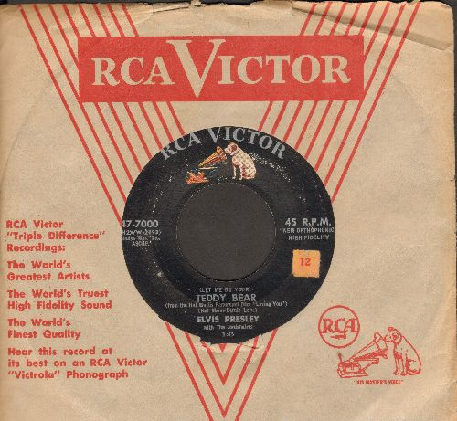 Presley, Elvis - Teddy Bear/Loving You (first issue with vintage RCA company sleeve) - VG7/ - 45 rpm Records