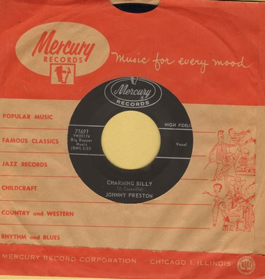 Preston, Johnny - Charming Billy/Up In The Air (with vintage Mercury company sleeve) - EX8/ - 45 rpm Records