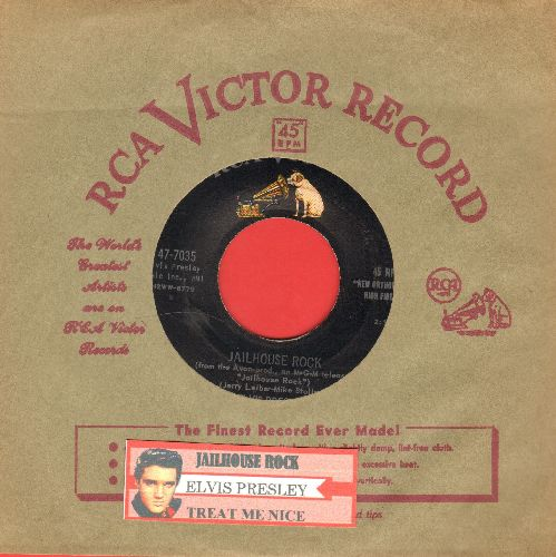 Presley, Elvis - Jailhouse Rock/Treat Me Nice (first pressing with vintage RCA company sleeve and juke box label) - VG7/ - 45 rpm Records