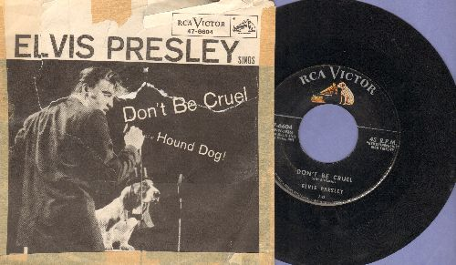Presley, Elvis - Don't Be Cruel/Hound Dog (first pressing with RARE picture sleeve, sleeve in poor conditio, with clear tape) - VG7/G4 - 45 rpm Records