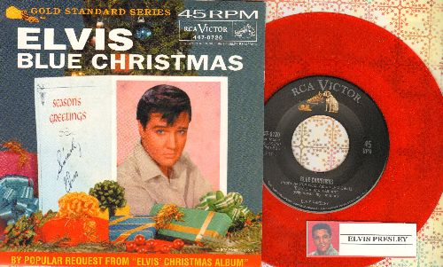 Presley, Elvis - Blue Christmas/Wooden Heart (RED Vinyl re-issue with picture sleeve) - NM9/NM9 - 45 rpm Records