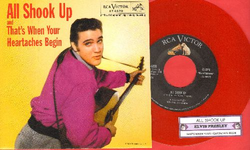 Presley, Elvis - All Shook Up/That's When Your Heartaches Begin (Red Vinyl re-issue with picture sleeve and juke box label) - NM9/NM9 - 45 rpm Records