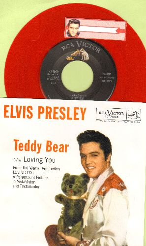 Presley, Elvis - Teddy Bear/Loving You (RED VINYL re-issue with picture sleeve) - NM9/NM9 - 45 rpm Records