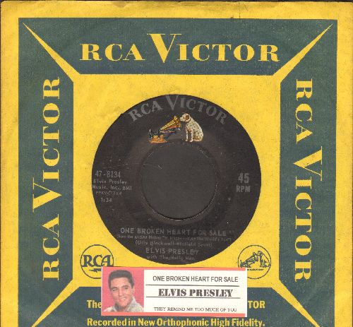 Presley, Elvis - One Broken Heart For Sale/They Remind Me Too Much Of You (with juke box label and RCA company sleeve) - VG7/ - 45 rpm Records