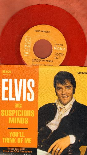 Presley, Elvis - Suspicious Minds/You'll Think Of Me (Red Vinyl re-issue with picture sleeve) - NM9/NM9 - 45 rpm Records