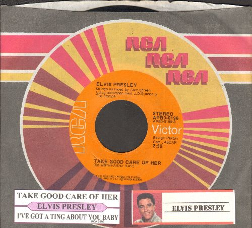 Presley, Elvis - Take Good Care Of Her/I've Got A Thing About You Baby (with juke box label and company sleeve) - NM9/ - 45 rpm Records