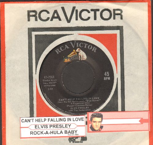 Presley, Elvis - Can't Help Falling In Love/Rock-A-Hula Baby (first pressing with juke box label and vintage RCA company sleeve) - NM9/ - 45 rpm Records
