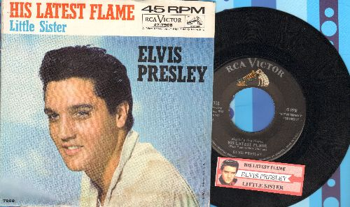 Presley, Elvis - Marie's The Name (His Latest Flame)/Little Sister (with picture sleeve and juke box label) - NM9/VG7 - 45 rpm Records