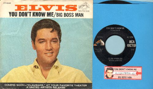 Presley, Elvis - You Don't Know Me/Big Boss Man (with picture sleeve and juke box label) - EX8/VG7 - 45 rpm Records