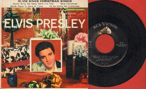 Presley, Elvis - Elvis Sings Christmas Songs: Santa Bring My baby Back (to Me)/Blue Christmas/Santa Claus Is Back In Town/I'll Be Home For Christmas (vinyl EP record with picture cover)(minor woc) - EX8/EX8 - 45 rpm Records