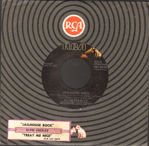Presley, Elvis - Jailhouse Rock/Treat Me Nice (re-issue with RCA company sleeve and juke box label) - EX8/ - 45 rpm Records