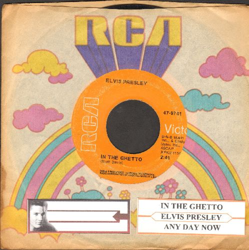 Presley, Elvis - In The Ghetto/Any Day Now (with juke box label and RCA company sleeve) - VG7/ - 45 rpm Records