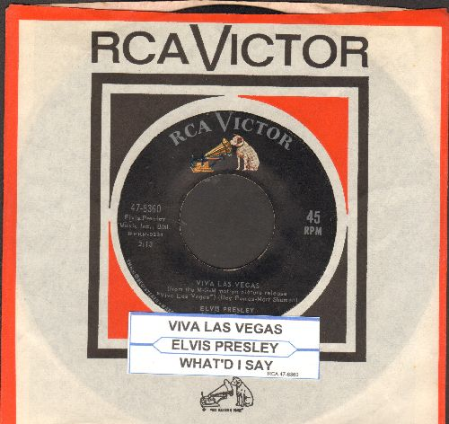 Presley, Elvis - Viva LasVegas/What'd I Say (with juke box label and RCA company sleeve) - VG7/ - 45 rpm Records