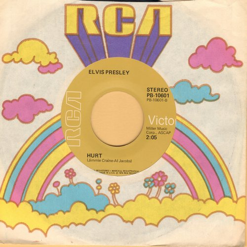 Presley, Elvis - Hurt (FANTASTIC cover of Timi Yuro Hit!)/For The Heart (with RCA company sleeve) - VG7/ - 45 rpm Records