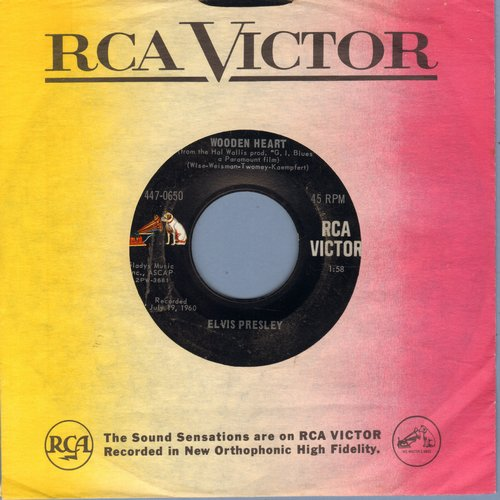 Presley, Elvis - Wooden Heart/Puppet On A String (with vintage RCA company sleeve) - EX8/ - 45 rpm Records