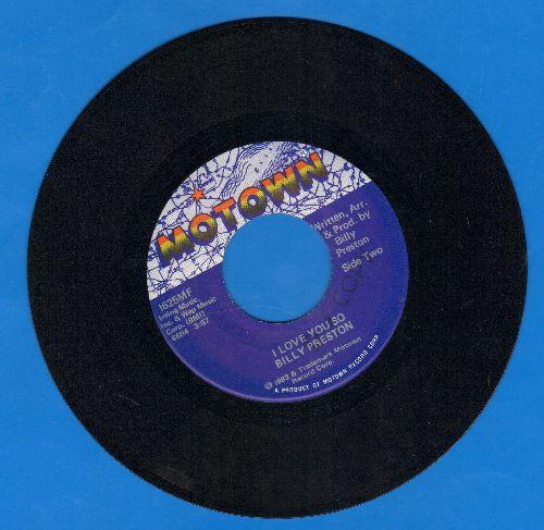 Preston, Billy - I Love You So/I'm Never Gonna Say Goodbye - EX8/ - 45 rpm Records