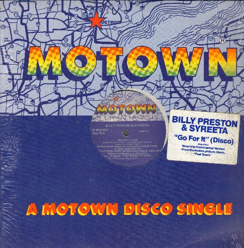 Preston, Billy & Syreeta - Go For It (8:49 minutes Extended Disco Version)/Go For It (8:43 minutes Instrumental version) (12 inch vinyl Maxi Single with Motown company cover) - NM9/ - Maxi Singles