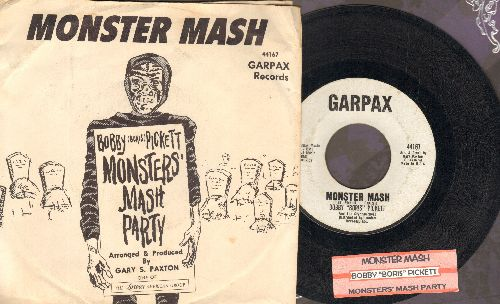 Pickett, Bobby (Boris) & The Crypt Kickers - Monster Mash/Monster Mash Party (Garpax white label with RARE picture sleeve and juke box label) - EX8/VG7 - 45 rpm Records