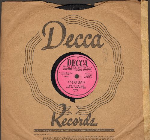 Prima, Louis & His Orchestra - Paper Doll/Dummy Song (10 inch 78 rpm record, DJ advance pressing) - EX8/ - 78 rpm