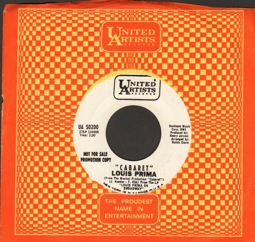 Prima, Louis - Cabaret/My Cup Runneth Over (DJ advance pressing with vintage United Artists company sleeve) - M10/ - 45 rpm Records
