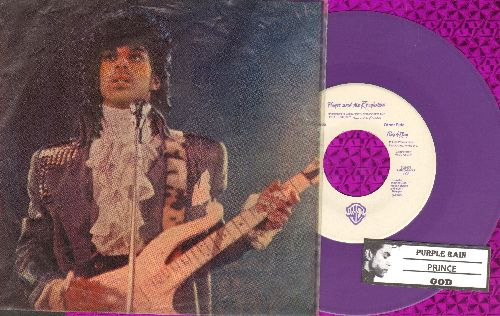 Prince - Purple Rain/GOD (RARE Purple Vinyl with Transparent picture sleeve and juke box label) - NM9/VG7 - 45 rpm Records