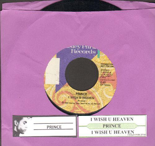 Prince - I Wish You Heaven (double-A-sided DJ advance pressing wth juke box label) - NM9/ - 45 rpm Records