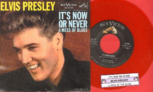 Presley, Elvis - It's Now Or Never/A Mess Of Blues (RED VINYL re-issue with picture sleeve and juke box label) - NM9/NM9 - 45 rpm Records