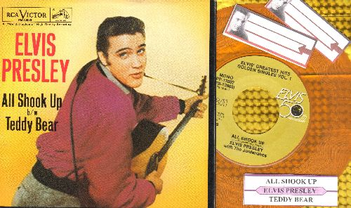 Presley, Elvis - Teddy Bear/All Shook Up (Gold Vinyl 50th Anniversary double-hit re-issue with juke box label and picture sleeve) - NM9/NM9 - 45 rpm Records