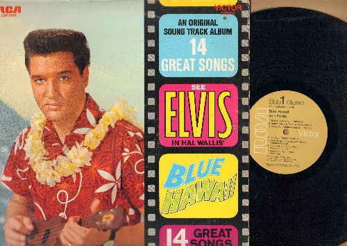 Presley, Elvis - Blue Hawaii - An Original Sound Track Album - 14 Great Songs: Can't Help Falling In Love, Moonlight Swim, Hawaiian Wedding Song (vinyl STEREO LP record, 1980s pressing) - NM9/VG7 - LP Records