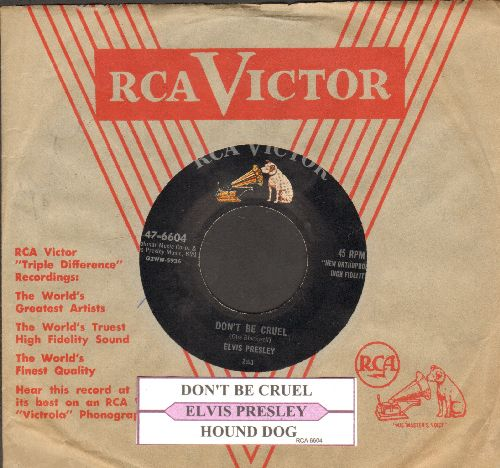 Presley, Elvis - Don't Be Cruel/Hound Dog (first pressing with juke box label and vintage RCA company sleeve) - EX8/ - 45 rpm Records