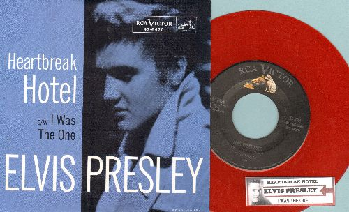 Presley, Elvis - Heartbreak Hotel/I Was The One (RED VINYL re-issue with juke box label and picture sleeve) - NM9/NM9 - 45 rpm Records