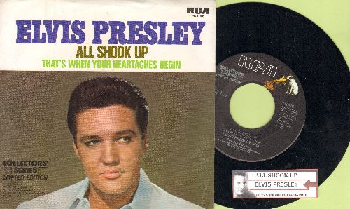 Presley, Elvis - All Shook Up/That's When Your Heartaches Begin (1977 re-issue with juke box label and picture sleeve) - NM9/NM9 - 45 rpm Records