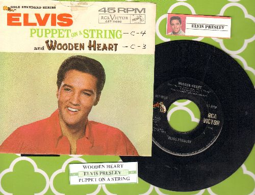 Presley, Elvis - Wooden Heart/Puppet On A String (with picture sleeve and juke box label) - EX8/VG7 - 45 rpm Records