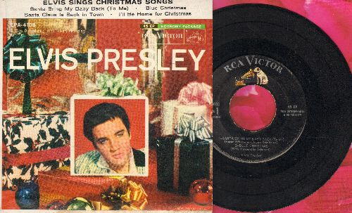 Presley, Elvis - Elvis Sings Christmas Songs: Santa Bring My baby Back/Blue Christmas/Santa Claus Is Back In Town/I'll Be Home For Christmas (vinyl EP record with picture cover) - NM9/NM9 - 45 rpm Records