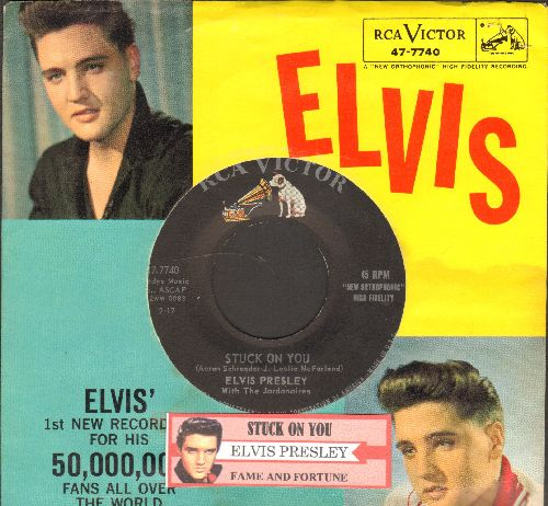 Presley, Elvis - Stuck On You/Fame And Fortune (with picture sleeve and juke box label) - NM9/VG7 - 45 rpm Records