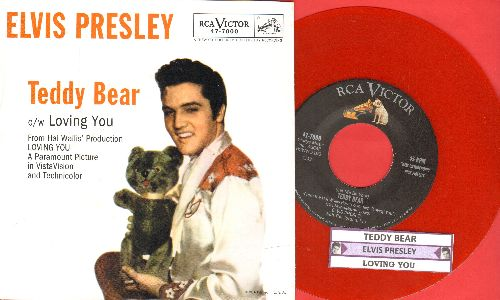 Presley, Elvis - Teddy Bear/Loving You (RED VINYL re-issue with picture sleeve and juke box label) - NM9/NM9 - 45 rpm Records
