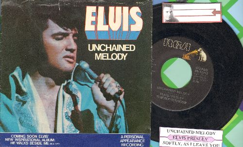 Presley, Elvis - Unchained Melody/Softly, As I Leave You (with juke box label and picture sleeve) - EX8/EX8 - 45 rpm Records
