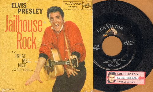Presley, Elvis - Jailhouse Rock/Treat Me Nice (first pressing with RARE picture sleeve and  juke box label) - VG7/VG7 - 45 rpm Records