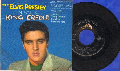 Presley, Elvis - King Creole Vol. 2: Trouble/Young Dreams/Crawfish/Dixieland Rock (vinyl EP record with picture cover) - EX8/VG7 - 45 rpm Records