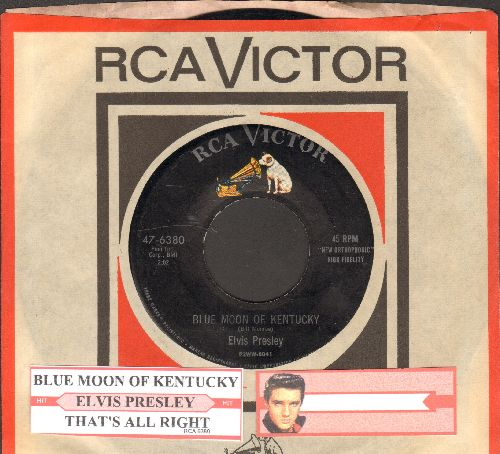 Presley, Elvis - Blue Moon Of Kentucky/That's All Right (RARE 1955 first pressing with RCA company sleeve and juke box label) - EX8/ - 45 rpm Records