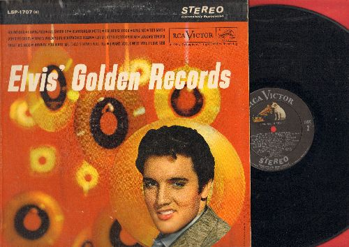 Presley, Elvis - Elvis' Golden Records: Hound Dog, All Shook Up, Jailhouse Rock, Don't Be Cruel, Love Me Tender, Heartbreak Hotel (vinyl STEREO LP record) - VG7/EX8 - LP Records