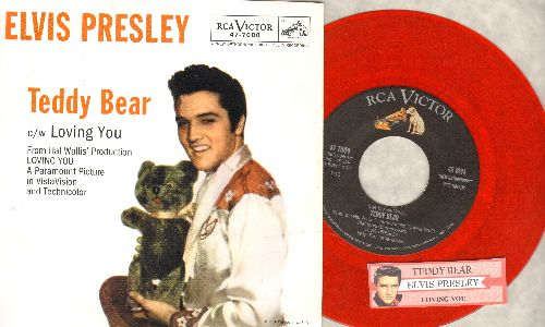 Presley, Elvis - Teddy Bear/Loving You (red vinyl re-issue with juke box label and picture sleeve) - M10/M10 - 45 rpm Records