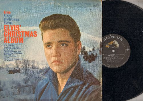 Presley, Elvis - Elvis' Christmas Album: Santa Claus Is Back In Town, White Christmas, Here Comes Santa Claus, Blue Christmas, I'll Be Home For Christmas (vinyl MONO LP record) - EX8/VG6 - LP Records