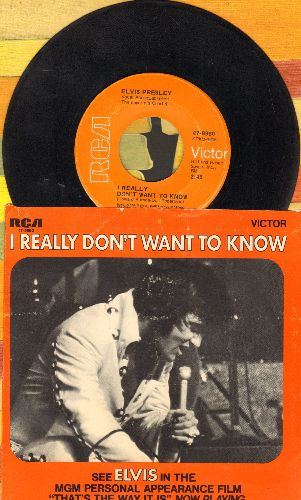 Presley, Elvis - I Really Don't Want To Know/There Goes My Everything (with picture sleeve) - EX8/VG7 - 45 rpm Records