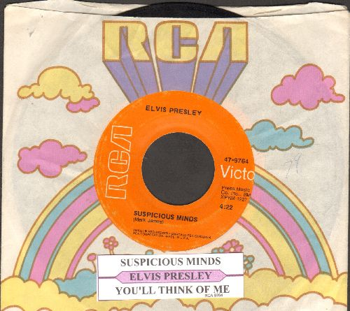 Presley, Elvis - Suspicious Minds/You'll Think Of Me (with juke box label and RCA company sleeve) - VG7/ - 45 rpm Records