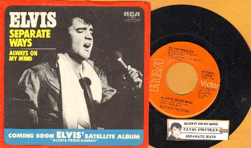Presley, Elvis - Always On My Mind/Separate Ways (first pressing with juke box label and picture sleeve) - EX8/EX8 - 45 rpm Records