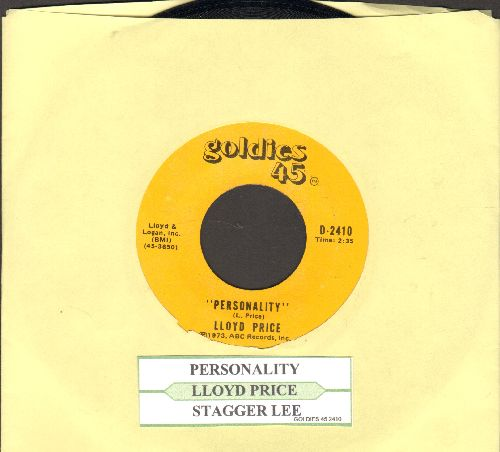 Price, Lloyd - Personality/Stagger Lee (1970s double-hit re-issue of vintage recordings with juke box label) - NM9/ - 45 rpm Records